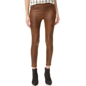 Free People Brown Leather Never Let Go Pant 26